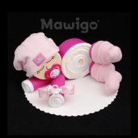 Mawigo Windelgeschenk Windelbaby pink rosa Söckchen