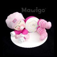 Mawigo Windelgeschenk Windelbaby pink rosa Streifensocken