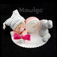 Mawigo Windelgeschenk Windelbaby rosa grau gestreift