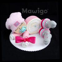 Mawigo Windelgeschenk Windelbaby rosa Rüschen