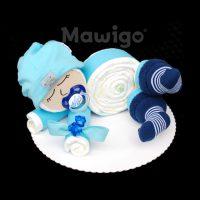 Mawigo Windeltorte Windelbaby hellblau Söckchen