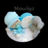Mawigo Windeltorte Windelbaby hellblau Schildmütze