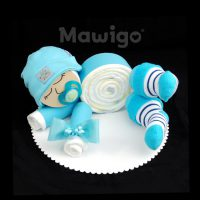 Mawigo Windeltorte Windelbaby hellblau Streifen