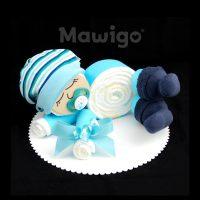 Mawigo Windeltorte Windelbaby hellblau Mütze