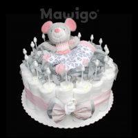 Mawigo Windeltorte Windelkuchen Maus grau