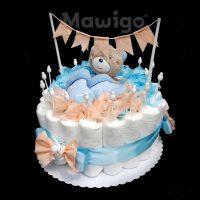 Mawigo Windeltorte Windelkuchen mit Wimpelkette in blau und aprikot