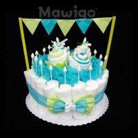 Mawigo Windeltorte Windelkuchen blau grün Muffin Wimpelkette