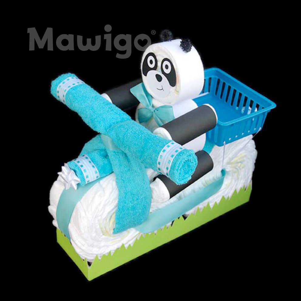 Mawigo Windeltorte Windelmotorrad blau mit Windelpanda