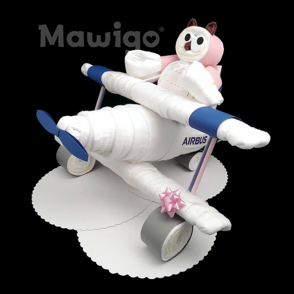 Mawigo Windeltorte Windelflugzeug groß blau Windeleule