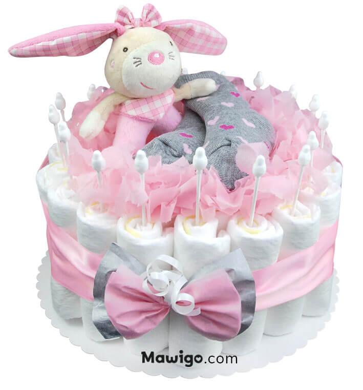 Mawigo Windeltorte Windelkuchen Hase rosa grau
