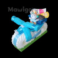 Mawigo Windeltorte Windelmotorrad blau mit Greifling Bär