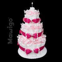Mawigo Windelgeschenk klassische Windeltorte pink