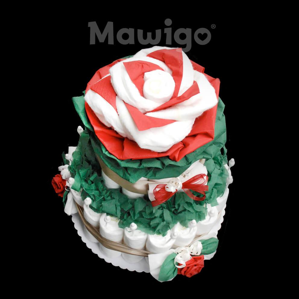 Mawigo Windelgeschenk Windelrosentorte rot grün oben