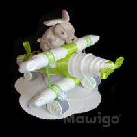 Mawigo Windeltorte Windelflugzeug groß grün Hase