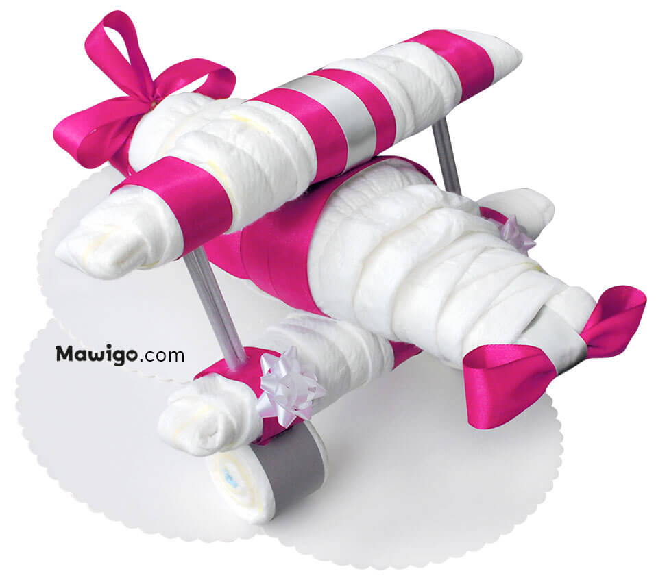 Mawigo Windeltorte Windelflugzeug groß pink Hauptmotiv
