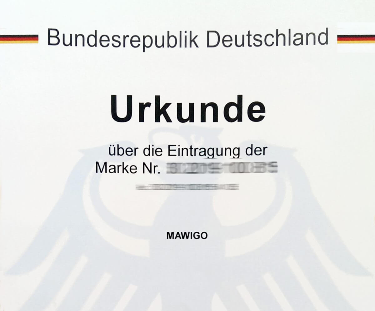 Urkunde Markeneintragung Mawigo