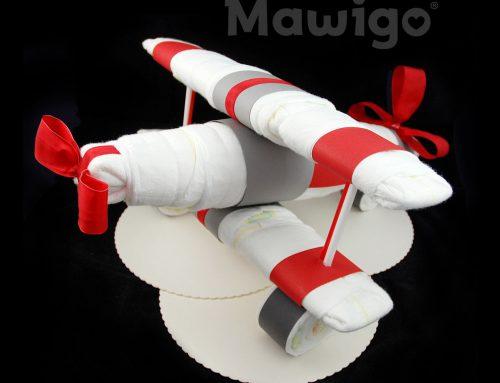 ⭐️Großes Windelflugzeug in rot-grau